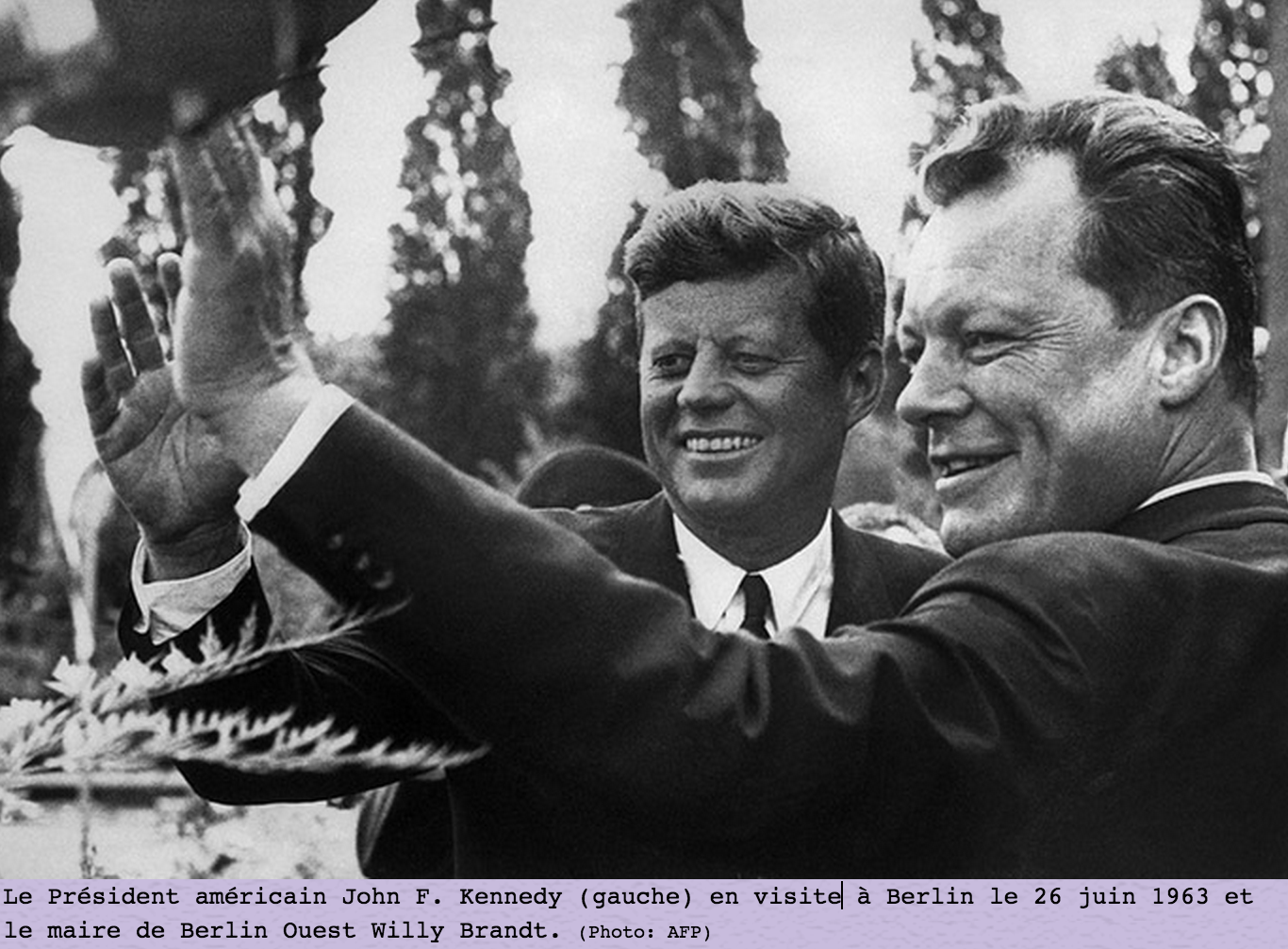 John f kennedy et willy brandt