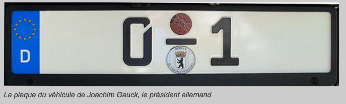 Plaque diplomatique du pre sident allemand