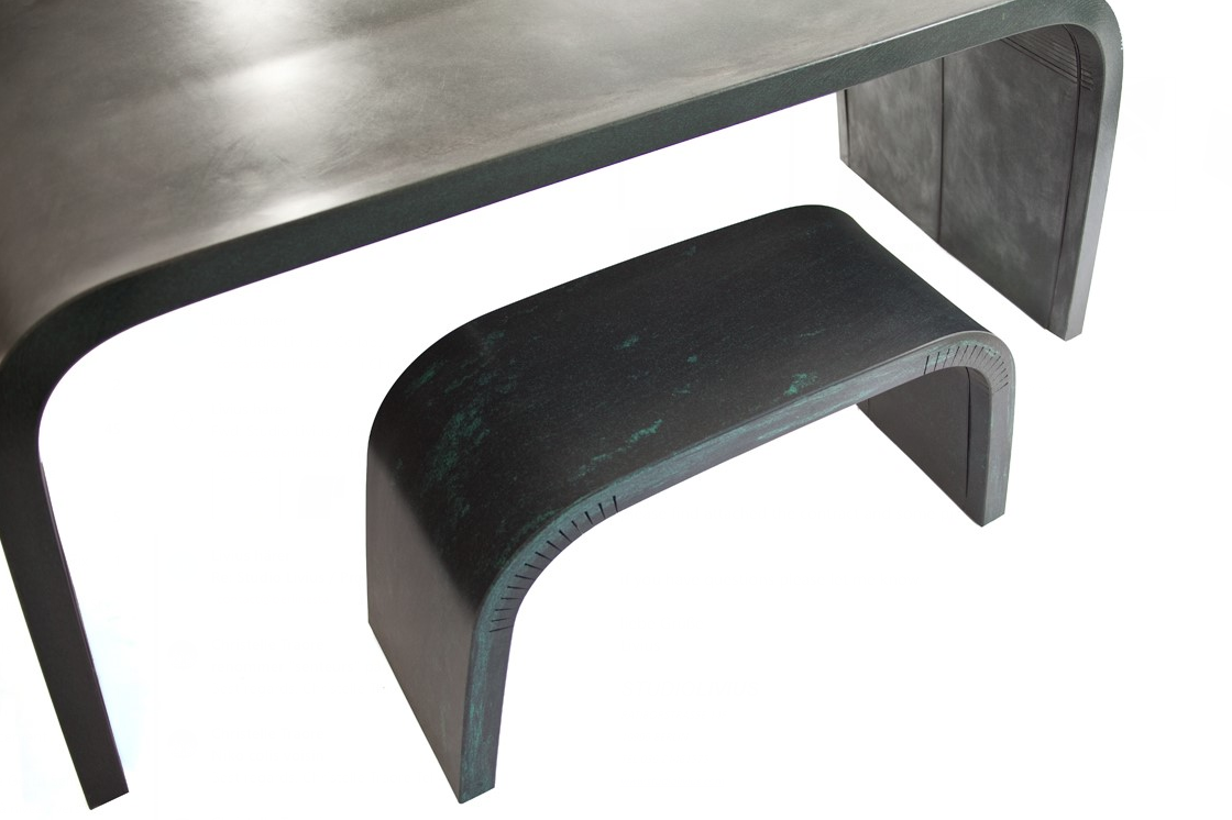 Bended table and bench studio livius 3