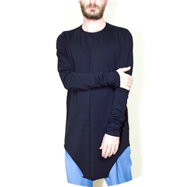 Extra long asymmetric t shirt black remesalt