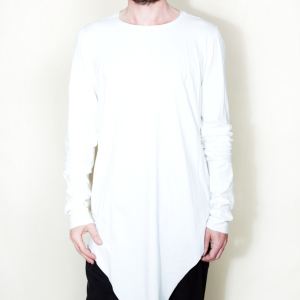 Extra long asymmetric t shirt white remesalt 1