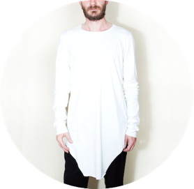 Extra long asymmetric t shirt white remesalt