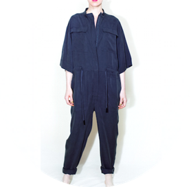 Oversize long overall dark blue remesalt