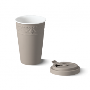 Porcelain to go cup grey kpm 2