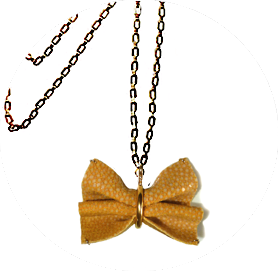 Shagreen bow tie necklace yellow zo landing 1